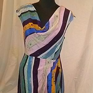 Silk Multi color paint/splash/stripe dress